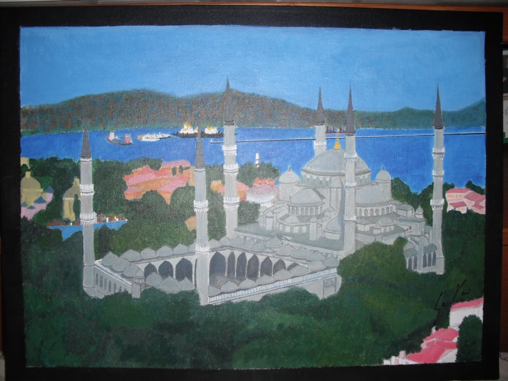 Blue Mosque, hand-painted acrylic, by Sana Khwaja