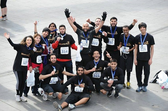 Haroon Mota and teammates at the Coventry Half Marathon.