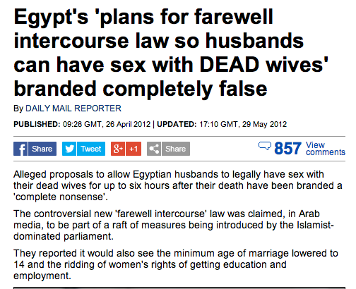 Follow-up news: Muslim zombiepocalypse enthusiasts file official complaint to Egypt.
