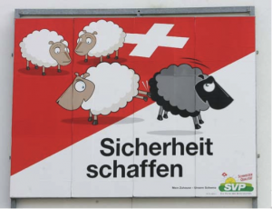 """Poster, with the slogan """"To Create Security,"""" derived from the SVP's 2007 proposal of a new law, which would authorize the deportation of criminal foreigners.[5]"""