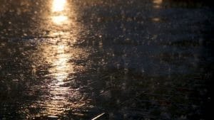 Rain falling on an asphalt road at night