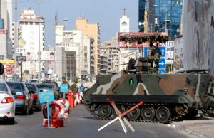 A Lebanese army checkpoint in Beirut's southern suburbs