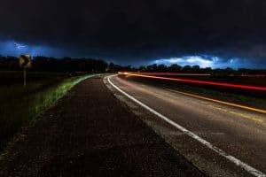 Country road at night