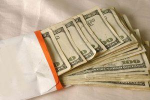 Envelope full of cash