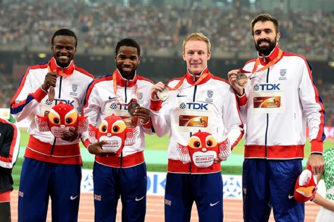 Rabah Yousif (far left) with GB's 4 x 400 relay team.