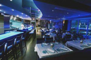 Blue restaurant interior
