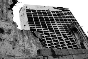 Damaged building in Beirut during the Lebanon civil war
