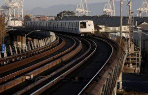San Francisco bound train departs West Oakland BART station