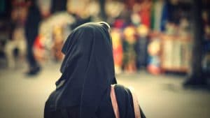 Woman in black hijab